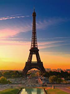 Bilder Frankreich Morgendämmerung und Sonnenuntergang Paris Eiffelturm