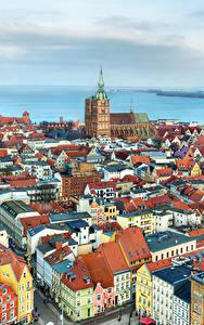 Fotos Deutschland Haus Flusse Von oben Stralsund Städte