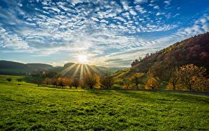 Bilder Deutschland Landschaftsfotografie Sonnenaufgänge und Sonnenuntergänge Himmel Herbst Wolke Sonne Bäume Gras Olsberg