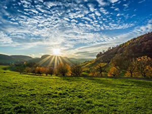 Bilder Deutschland Landschaftsfotografie Sonnenaufgänge und Sonnenuntergänge Himmel Herbst Wolke Sonne Bäume Gras Olsberg Natur