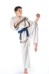 Bilder Weißer hintergrund Jungen Trainieren Uniform Hand Karate Kinder