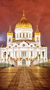 Bilder Moskau Russland Tempel Brücken Kathedrale Nacht Zaun Straßenlaterne Saviour Cathedral Städte