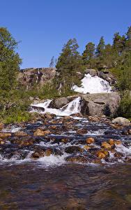 Bilder Norwegen Wasserfall Steine Flusse Natur