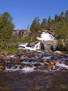 Bilder Norwegen Wasserfall Stein Flusse Natur
