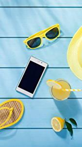 Fotos Sommer Brille Der Hut Flipflop Smartphones Bretter