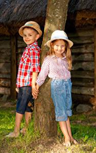 Wallpaper Trunk tree Little girls Boys Hat Two Smile Children