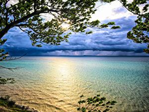 Bilder USA Sonnenaufgänge und Sonnenuntergänge Ast Lake Michigan Natur