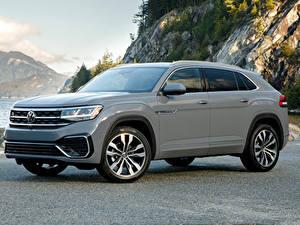 Bureaubladachtergronden Volkswagen Grijze Metallic Cross-over auto 2020 Atlas Cross Sport SEL R-Line automobiel