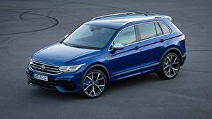 Hintergrundbilder Volkswagen Blau Metallisch Tiguan R, 2020 auto