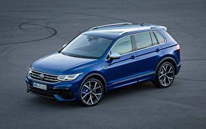 Bakgrundsbilder på skrivbordet Volkswagen Blå Metallisk Tiguan R, 2020