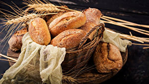 Fotos Brot Weidenkorb Ähre Lebensmittel