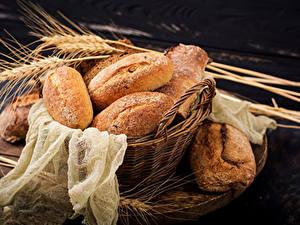 Fotos Brot Weidenkorb Ähre das Essen