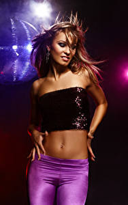 Photo Brown haired Dance Belly Hands young woman