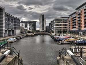 Hintergrundbilder England Haus Binnenschiff Kanal HDR Yorkshire, Leeds Städte
