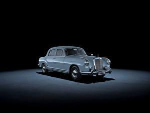 Bilder Mercedes-Benz Retro Grauer Hintergrund Hellblau Metallisch 1954-56 220 a Autos