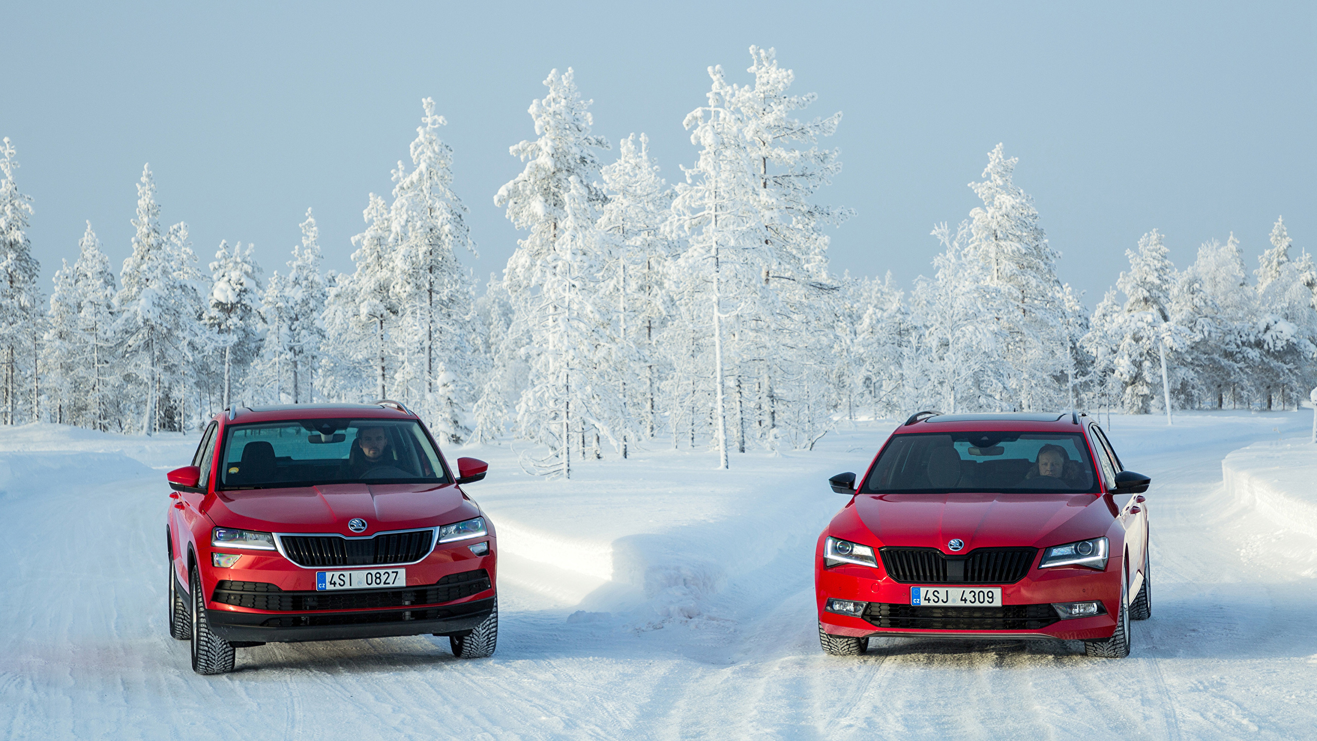 Picture Skoda Superb Karoq 2 Red Winter Snow Automobile 2560x1440