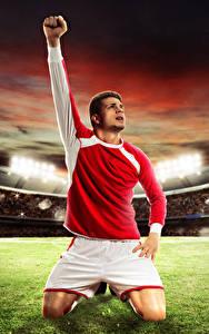 Fotos Fußball Mann Acker Stadion Hand Uniform Sport