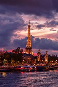 Bilder Frankreich Fluss Himmel Brücken Schiffsanleger Abend Paris Wolke Eiffelturm Städte