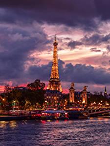 Bilder Frankreich Fluss Himmel Brücken Schiffsanleger Abend Paris Wolke Eiffelturm