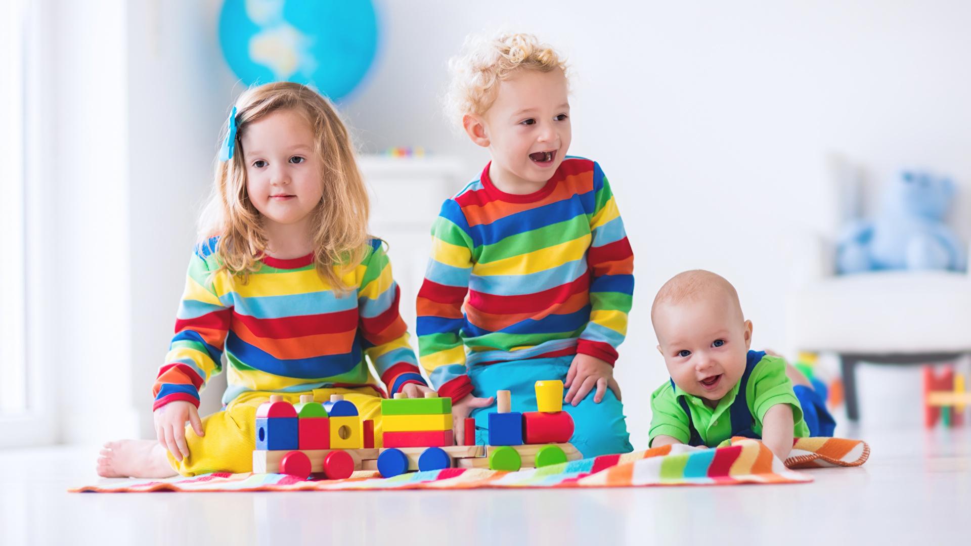 Little girls Boys Infants joyful Children Three 3