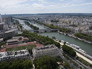 Image France Building Rivers Bridges Paris Horizon From above river Seine Cities