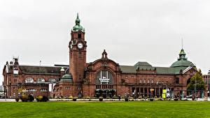 Bilder Deutschland Haus Uhr Rasen Wiesbaden Städte
