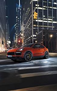 Wallpaper Porsche Night Street Orange Motion Cayenne Turbo 2019 Cars