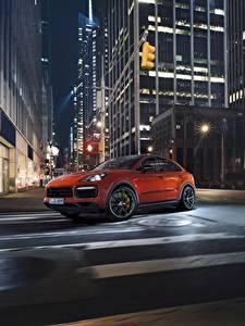 Wallpaper Porsche Night Street Orange Motion Cayenne Turbo 2019 Cars