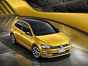 Hintergrundbilder Volkswagen Gelb 2019 Polo Plus Autos