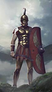Hintergrundbilder Krieger Total War: Arena Schild (Schutzwaffe) Schwert Helm Scipio