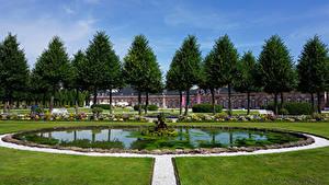 Hintergrundbilder Deutschland Park Springbrunnen Palast Rasen Bäume Schwetzingen Palace