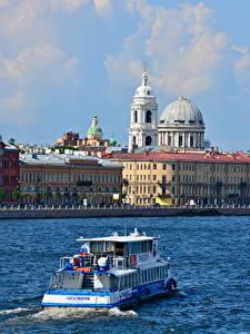 Fotos Fluss Binnenschiff Gebäude Russland Sankt Petersburg Kuppel Städte