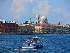 Picture Rivers Riverboat Building Russia St. Petersburg Dome Cities