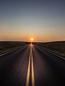 Fotos Straße Sonnenaufgänge und Sonnenuntergänge Asphalt