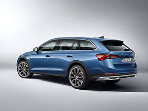Wallpapers Skoda Blue Metallic Side Octavia Scout, 2020 Cars