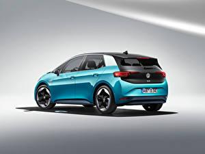 Papel de Parede Desktop Volkswagen Celeste Metálico ID.3 1ST Worldwide, 2020 Carros