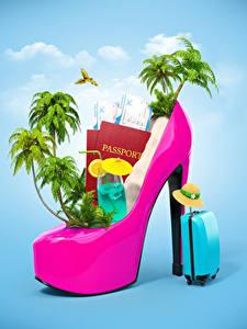 Hintergrundbilder Kreativ Getränk Resort High Heels Palmen Koffer Englische Der Hut 3D-Grafik