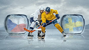 Wallpapers Hockey Man 2 Uniform Ice skate Ice rink