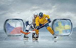 Wallpapers Hockey Men 2 Uniform Ice skate Ice rink