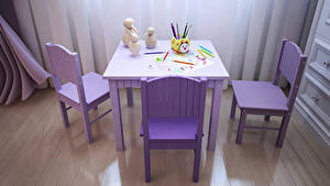 Pictures Interior Children's room Design Table Chairs Pencils