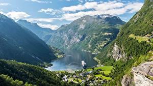 Fotos Gebirge Himmel Norwegen Canyon Wolke Geiranger