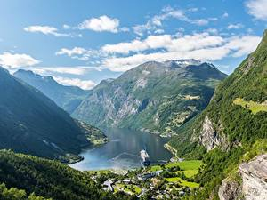 Fotos Gebirge Himmel Norwegen Canyon Wolke Geiranger Natur
