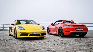 Hintergrundbilder Porsche 2 Metallisch Porsche 718 Autos