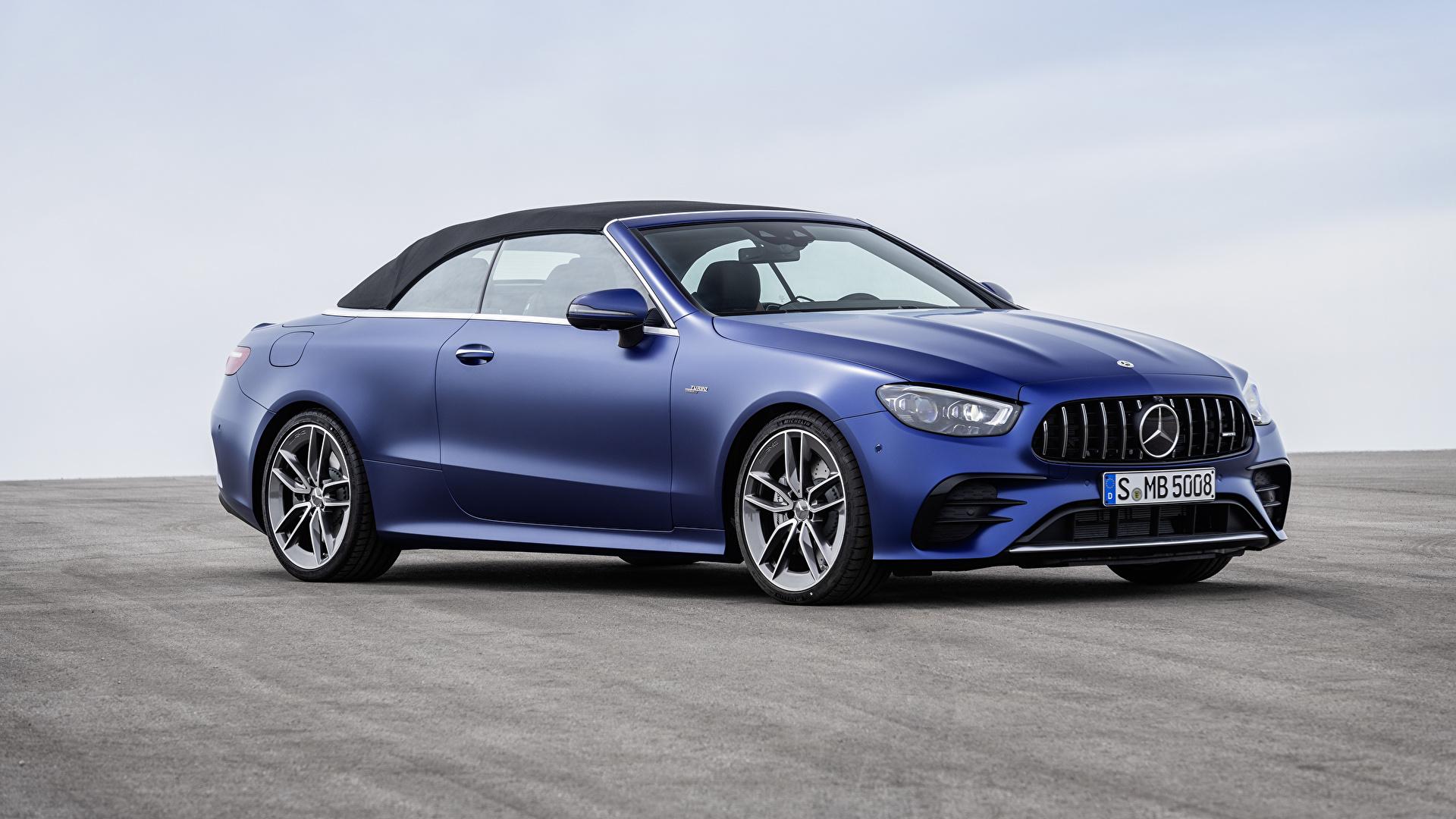 Bilder Mercedes-Benz E 53 4MATIC, Cabrio Worldwide, A238, 2020 Cabriolet Blau auto Metallisch 1920x1080 Autos automobil