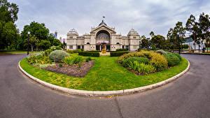 Hintergrundbilder Australien Melbourne Gebäude Rasen Strauch Straßenlaterne Städte