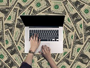Image Fingers Clock Money Paper money Dollars Laptops Hands Business