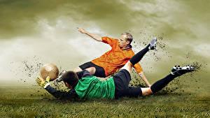 Hintergrundbilder Fußball Mann Zwei Ball Bein Schlamm Sport