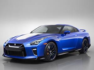 Hintergrundbilder Nissan Grauer Hintergrund Blau 2020 GT-R 50th Anniversary Autos