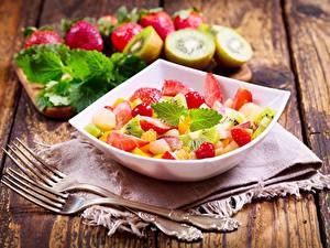 Papéis de parede Saladas Frutas Garfo Alimentos