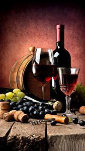 Fotos Wein Weintraube Fass Bretter Flaschen Weinglas